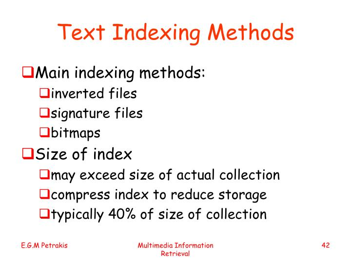 Text Indexing Methods