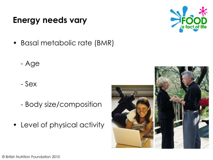 Energy needs vary