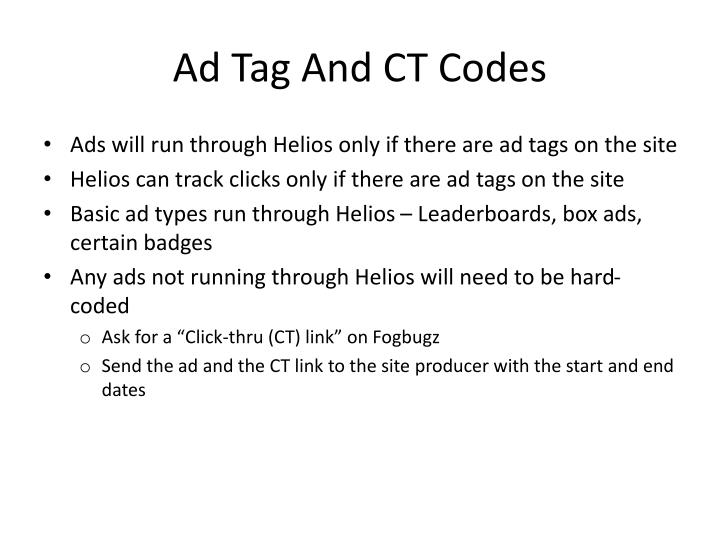 Ad Tag And CT Codes