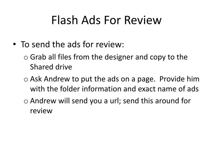 Flash Ads For Review