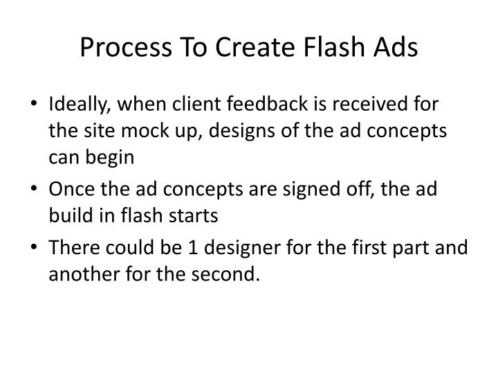 Process to create flash ads