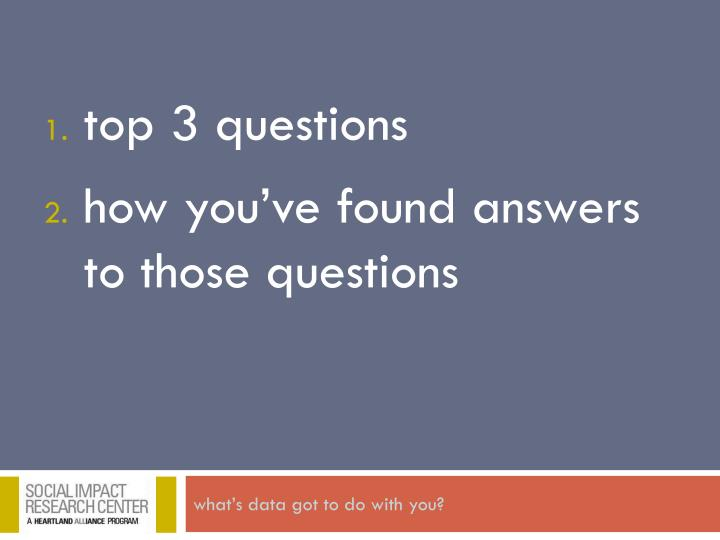 Top 3 questions how you ve found answers to those questions