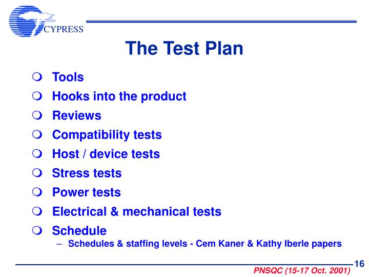 The Test Plan