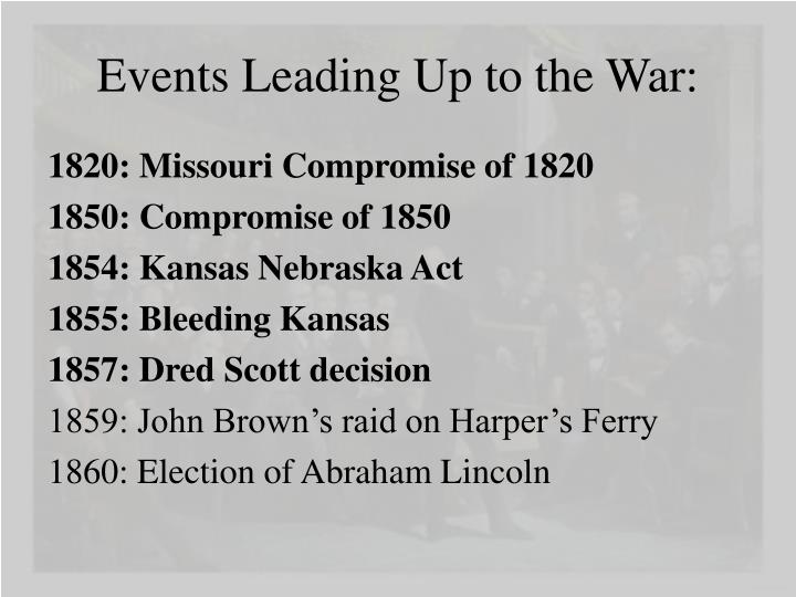 Events Leading Up to the War: