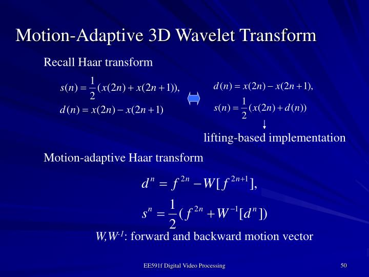 Motion-Adaptive 3D Wavelet Transform