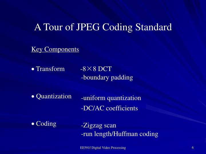 A Tour of JPEG Coding Standard
