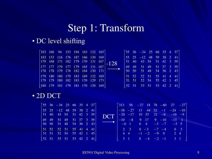 Step 1: Transform
