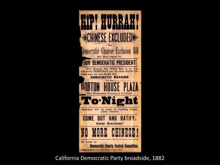 California Democratic Party broadside, 1882