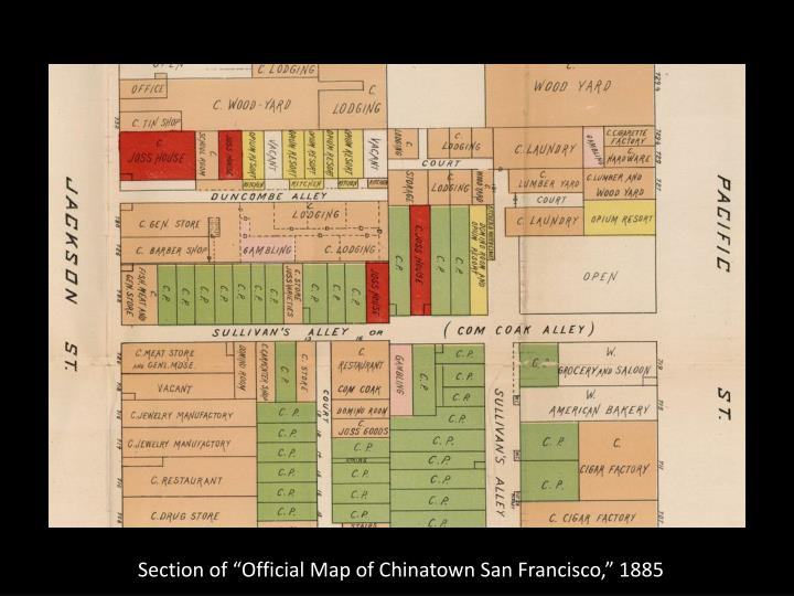 """Section of """"Official Map of Chinatown San Francisco,"""" 1885"""