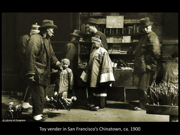 Toy vender in San Francisco's Chinatown, ca. 1900