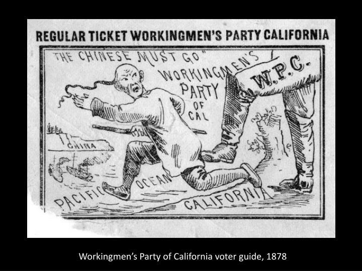 Workingmen's Party of California voter guide, 1878