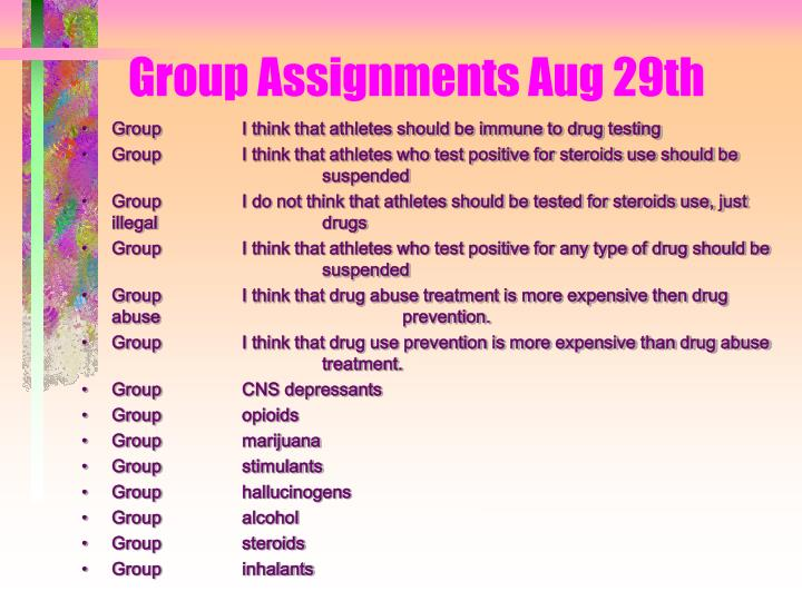 group assignments aug 29th