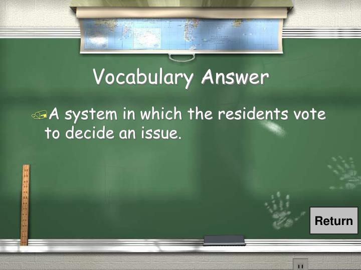 Vocabulary Answer