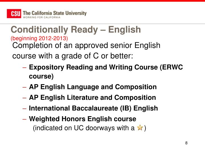 Conditionally Ready – English