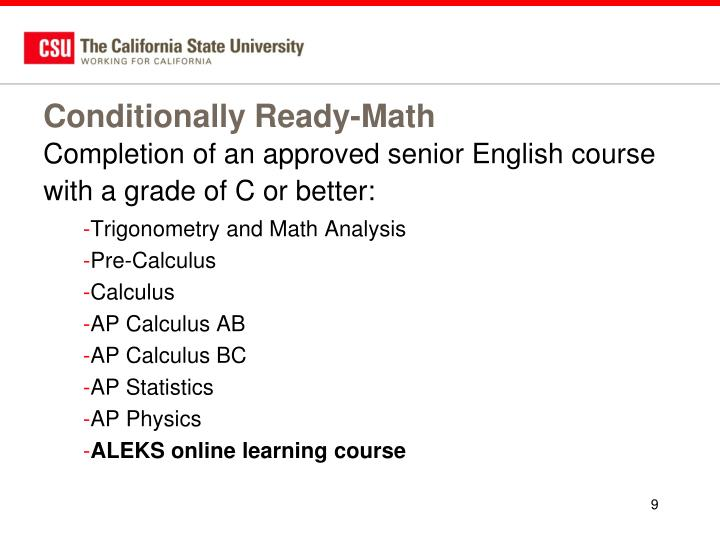 Conditionally Ready-Math