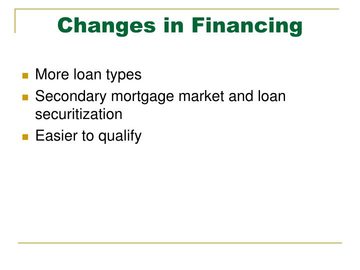 Changes in financing