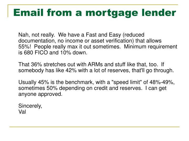 Email from a mortgage lender
