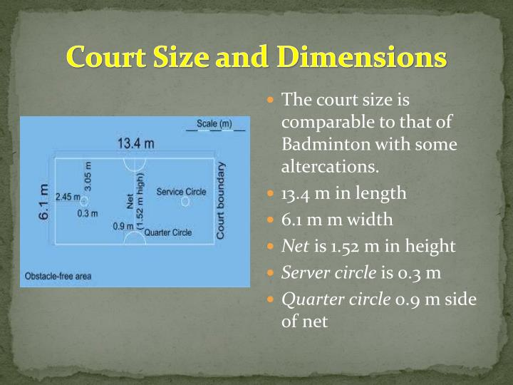 Court size and dimensions