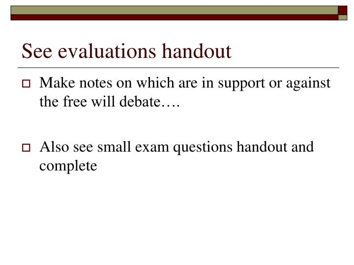 See evaluations handout