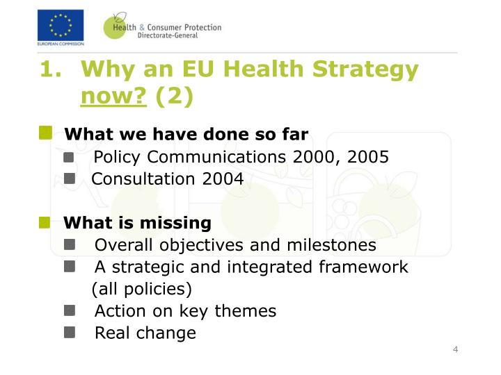 Why an EU Health Strategy