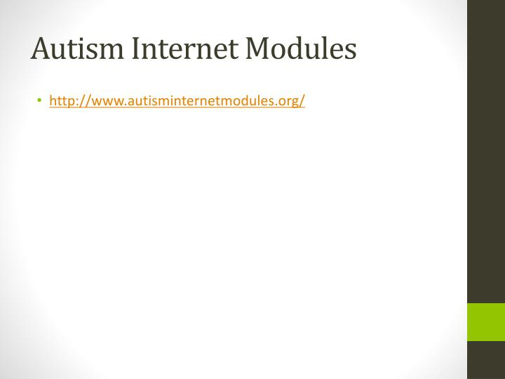Autism Internet Modules
