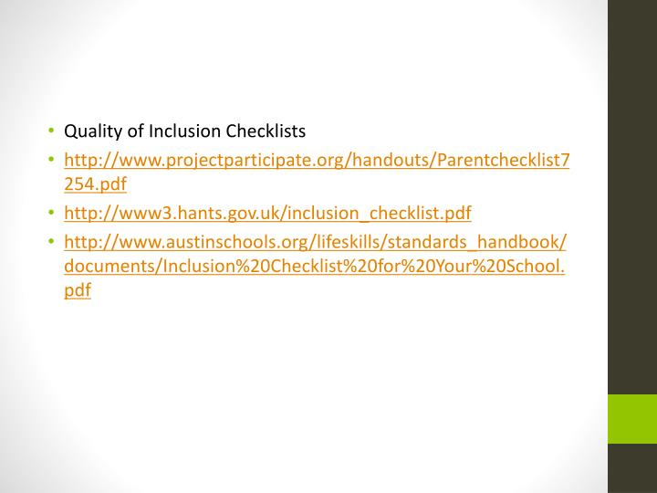 Quality of Inclusion Checklists