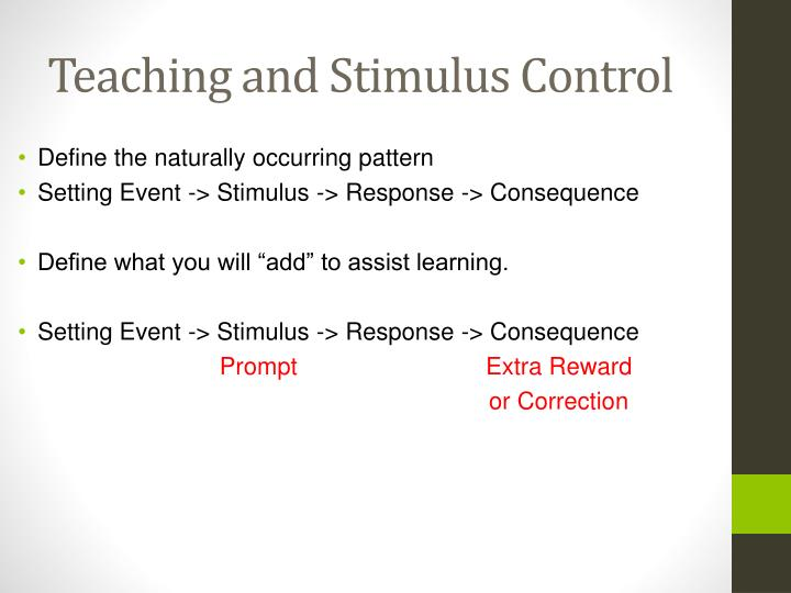 Teaching and Stimulus Control