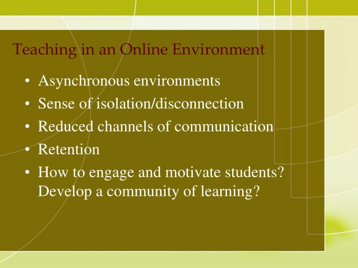 Teaching in an Online Environment