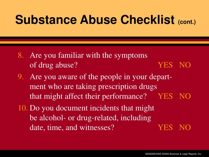 Substance Abuse Checklist