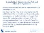 example 10 2 determining the null and alternative hypotheses