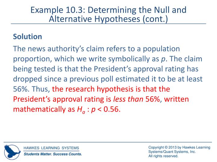 Example 10.3: Determining the Null and Alternative Hypotheses (cont.)
