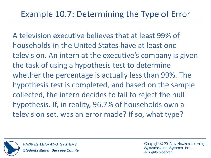 Example 10.7: Determining the Type of Error