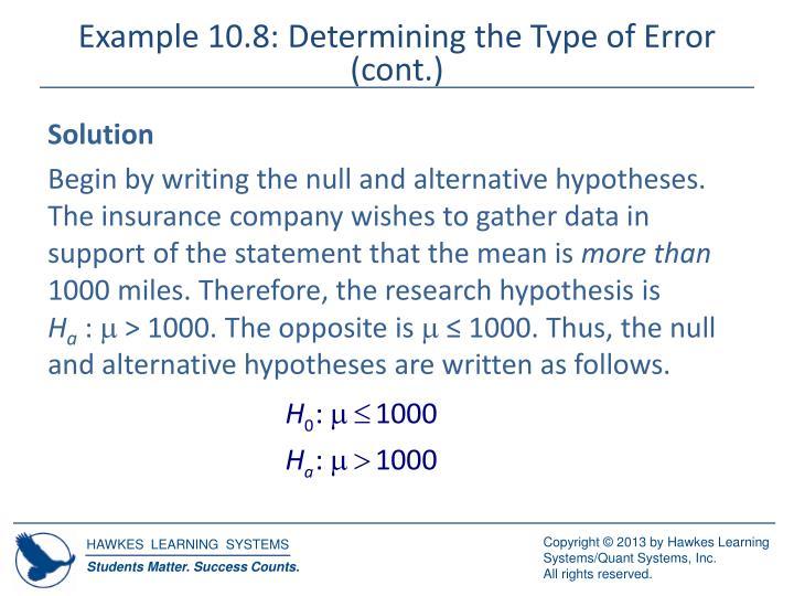 Example 10.8: Determining the Type of Error (cont.)