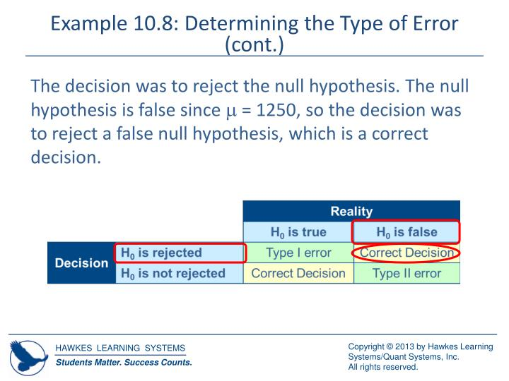 Example 10.8: Determining the Type of Error (cont.)