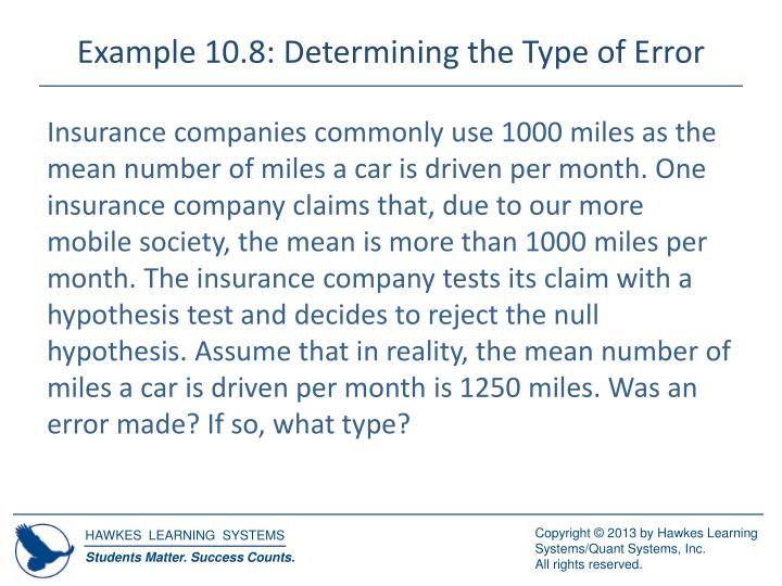 Example 10.8: Determining the Type of Error