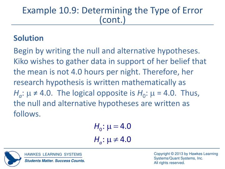 Example 10.9: Determining the Type of Error (cont.)