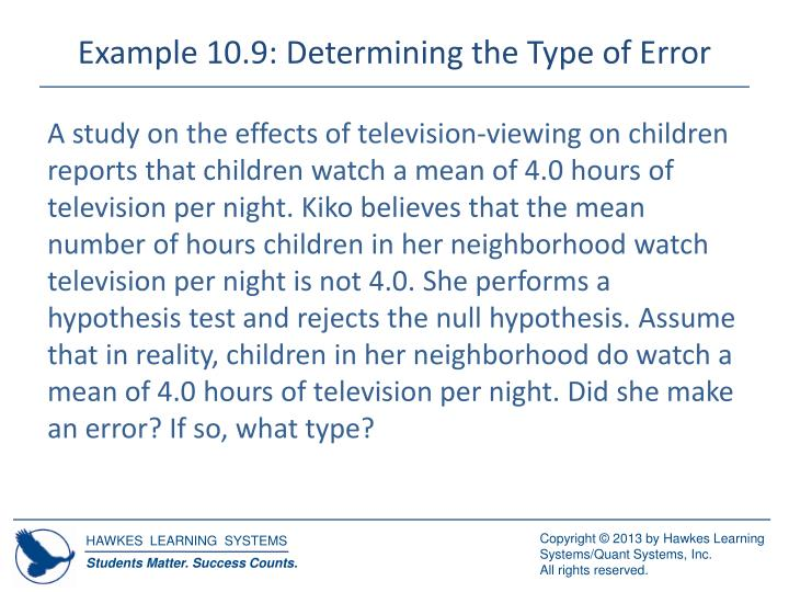 Example 10.9: Determining the Type of Error