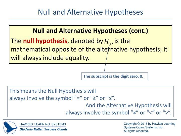 Null and alternative hypotheses1