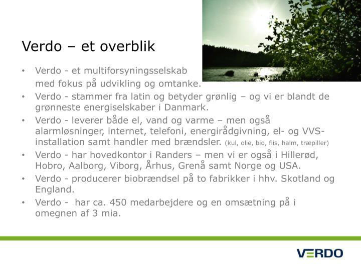 Verdo – et overblik