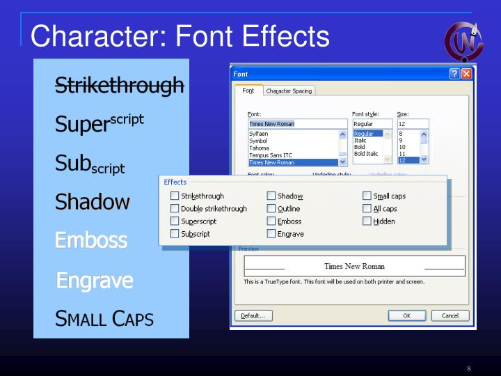 Character: Font Effects