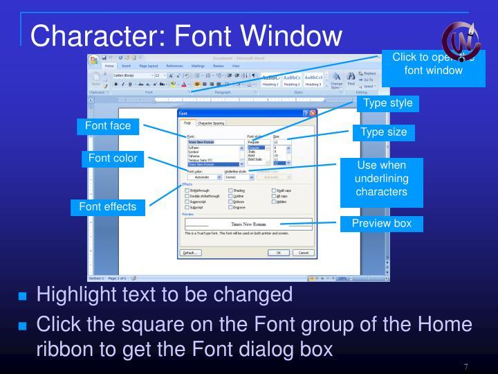 Character: Font Window
