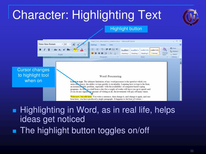 Character: Highlighting Text
