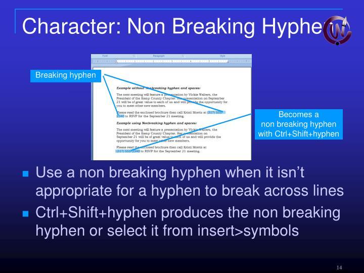 Character: Non Breaking Hyphen