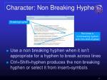 character non breaking hyphen