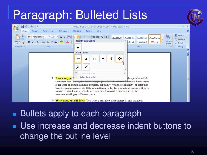 Paragraph: Bulleted Lists
