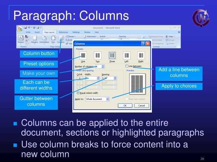 Paragraph: Columns