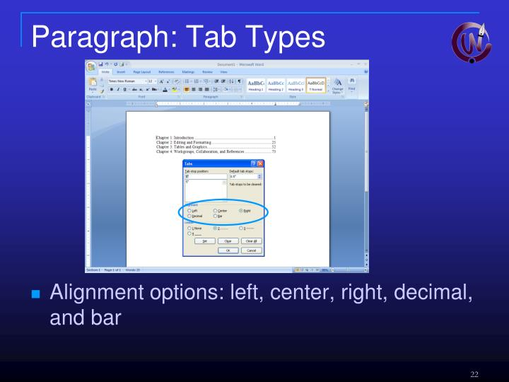 Paragraph: Tab Types