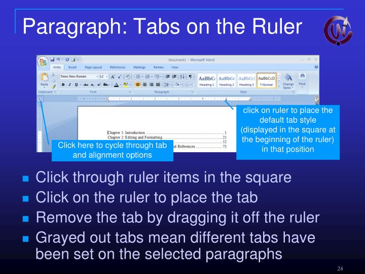 Paragraph: Tabs on the Ruler