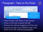 paragraph tabs on the ruler