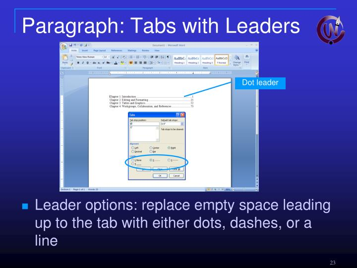 Paragraph: Tabs with Leaders